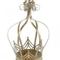 Metal crown, tealight holder for Advent, planter for hanging golden, antique look Ø16.5cm H27cm