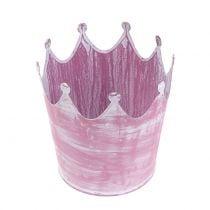 Metal crown pink white washed Ø10cm H9cm 6pcs