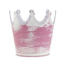 Metal crown pink white washed Ø8cm H7cm 8pcs
