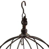Metal crown for hanging rust brown Ø31cm H31cm