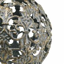 Ball to hang with ornaments antique look golden metal Ø12cm