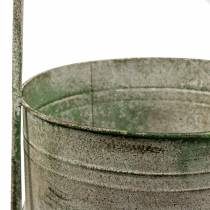 Metal stand with planters gray, green H68cm