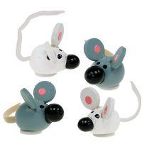 Mini wooden mouse white gray 2cm 24pcs