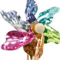 Mini-pinwheel, party decoration, windmill on the rod colored, decoration for the garden, flower plug Ø8.5cm 12pcs