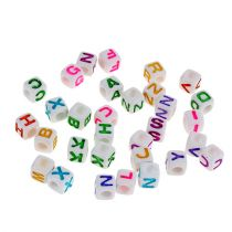 Mini cubes with letters 7mm colored 90g