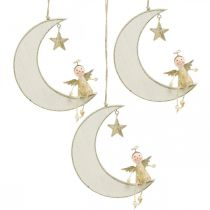 Advent decoration, angel on moon, wooden decoration for hanging white, golden H14.5cm W21.5cm 3pcs