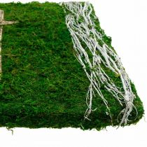 Moss picture vines and cross for grave arrangement green, white 40 × 30cm