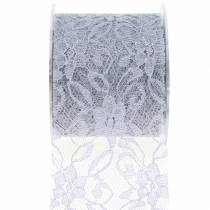 Lace ribbon deco ribbon gray 70mm 15m