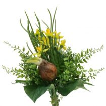 Artificial daffodil bouquet with twigs and bulbs 38cm