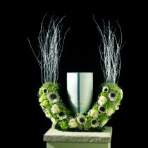 Floral foam urns half-ring H29cm Ø47cm 1pc mourning jewelry