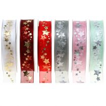 Organza ribbon with star motif 25mm 20m