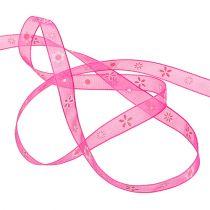 Organza ribbon pink with pattern 10mm 20m