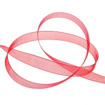 Organza ribbon with selvedge 1.5cm 50m red
