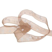 Organza ribbon with butterfly brown 25mm 20m