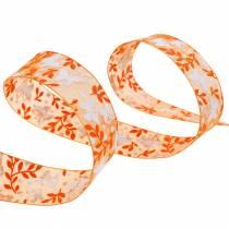 Organza ribbon butterflies 25mm Orange deco ribbon gift ribbon 20m