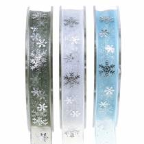 Organza ribbon with snowflake 15mm 20m