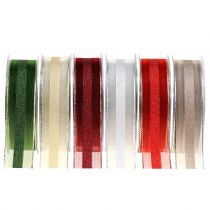 Organza ribbon with striped pattern 25mm 20m