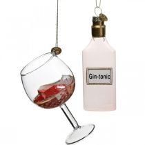 Glass pendants Cocktail glass, Christmas tree pendants, New Year's Eve, tree decorations Gin Tonic H9.5 / 11.5cm Real glass set of 2