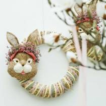 Easter decoration rabbit head for hanging straw H32cm
