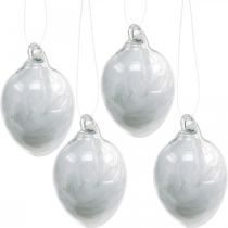 Easter decoration to hang, glass egg with feathers, mini Easter egg, spring decoration 8pcs