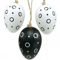 Easter eggs with rings and dots, spring decoration, monochrome Easter decoration 6pcs