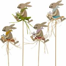Easter bunny with flower, bunny decoration for Easter, bunny on a stick, spring, wooden decoration flower plug 12pcs