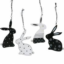 Easter bunny to hang black and white wooden deco bunny easter deco 12pcs