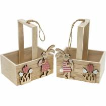 Easter basket with bunnies Easter decoration for hanging Easter basket spring decoration 2pcs