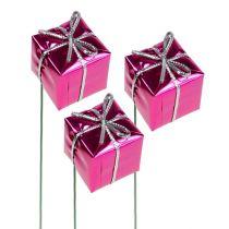 Parcel 2.5cm on wire Pink 60pcs