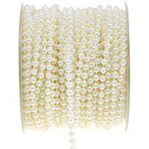 Pearl ribbon crème 4mm 20m