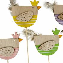Plant plug chicken colorful decoration plug wood hen Easter decoration 14pcs