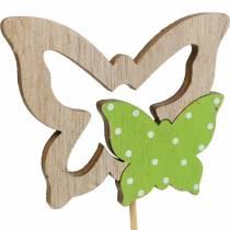 Plant plug butterfly on stick wood spring decoration 16pcs