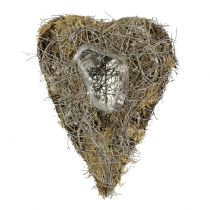 Plant heart made of vines and lichen nature 25cm x 19cm