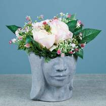 Plant head bust made of concrete for planting gray H14.5cm 2pcs
