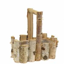 Birch branches planting basket with handle 24x14.5cm H25.5cm