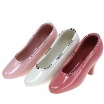Planter women's shoe ceramic cream, pink, pink assorted 20 × 6cm H12cm 3pcs