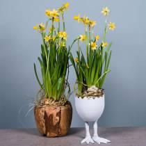 Eggshell plant pot with legs Ø13cm H21cm white