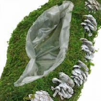 Planter moss and cones wave green, washed white 41 × 15cm