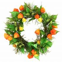Physalis wreath artificial orange, green Ø28cm autumn decoration