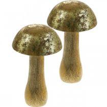 Mushroom mango wood gold, natural decorative mushroom Ø9cm H15.5cm 2pcs
