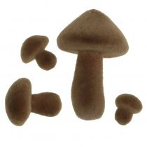 Mushrooms brown flocked 12pcs