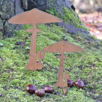 Garden plug mushrooms garden decoration rust metal 70cm