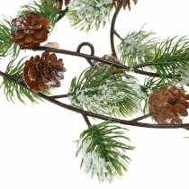 Pine garland with cones, snow-covered 145cm