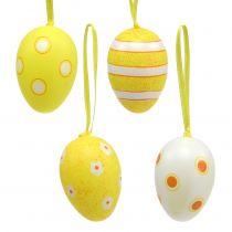 Plastic egg hanger yellow 6cm 12pcs