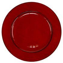 Plastic plate Ø33cm red-black