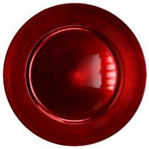 Plastic plate red Ø17cm 10 pcs