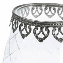 Decorative glass goblet with metal base Ø16cm H23.5cm
