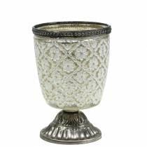 Tealight glass goblet peasant silver floral Ø9cm H13.5cm