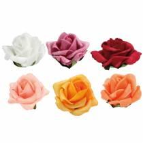 Foam-Rose Ø4,5cm different colors 36pcs