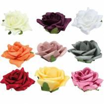Foam-Rose Ø7.5cm different colors 18pcs